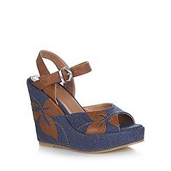 Mantaray - Blue canvas applique flower high wedge sandals