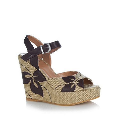 Mantaray - Natural canvas applique flower high wedge sandals