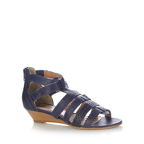 Mantaray - Navy leather cutout strap low wedge sandals