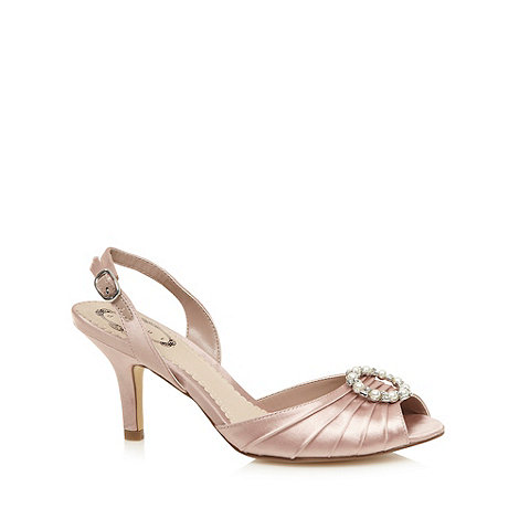 Debut - Pale pink textured satin slingback heeled shoes