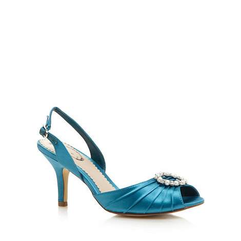 Debut - Turquoise textured satin slingback heeled shoes