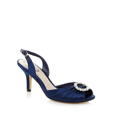 Debut - Navy ruched ring detail slingback mid sandals