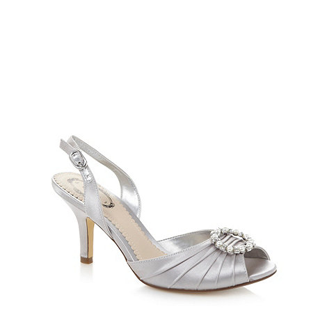 Debut - Silver ruched ring detail slingback mid sandals