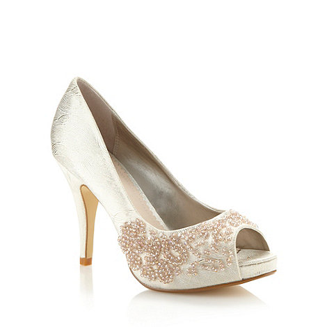 Debut - Gold metallic beaded peep toe court shoes