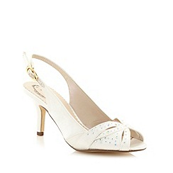 Debut - Ivory rhinestone satin mid court shoes