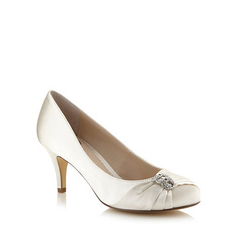 Debut - Ivory satin diamante trim occasion shoes