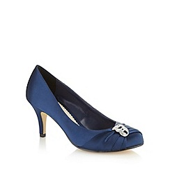 Debut - Navy satin diamante trim mid court shoes