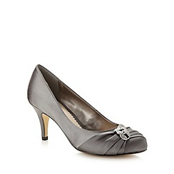 Debut - Dark silver satin diamante trim occasion shoes