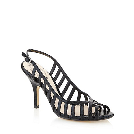 Debut - Black textured caged high sandals