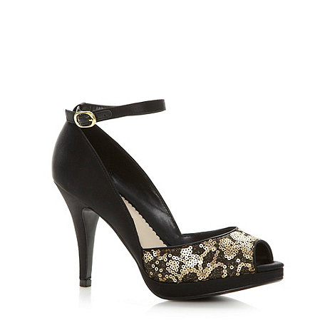 Debut - Black satin sequin front high court shoes