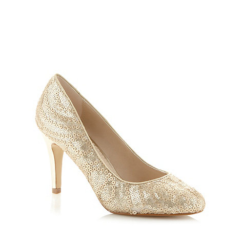 Debut - Gold sequin court shoes
