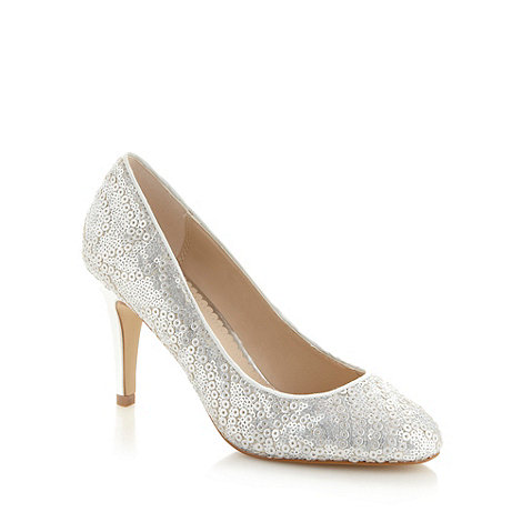 Debut - Silver sequin court shoes