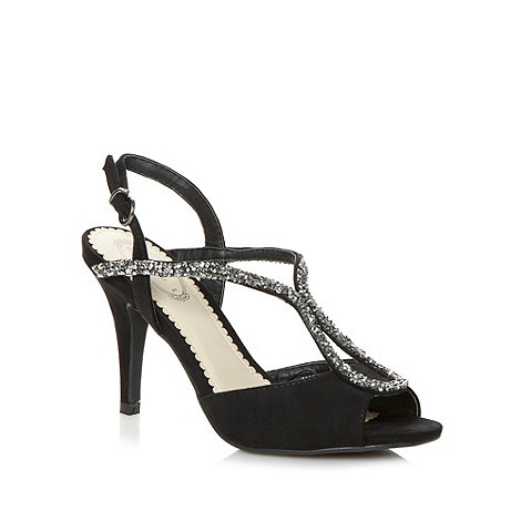 Debut - Black looped rhinestone strap high sandals