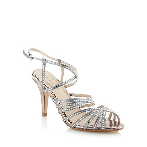 Debut - Silver diamante caged strap high sandals