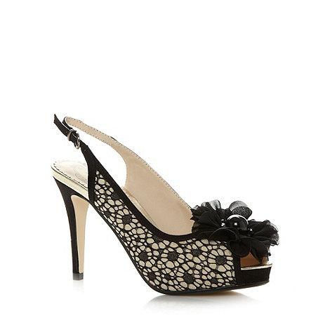 Debut - Beige flower lace high peep toe shoes