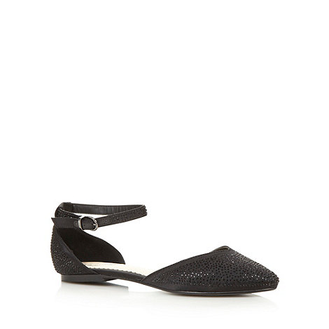 Debut - Black embellished pointed flat shoes