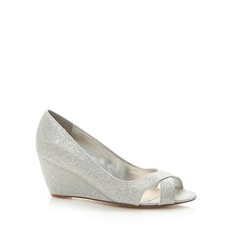 Debut - Silver metallic peep toe mid wedges