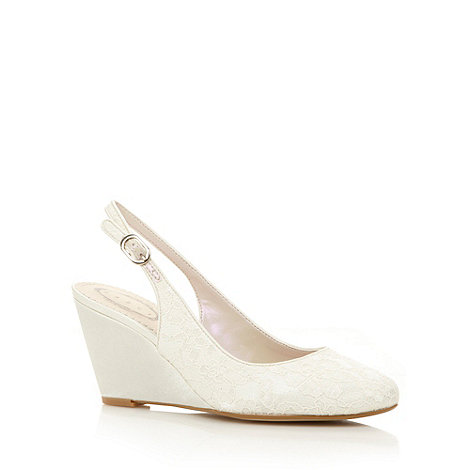 Debut - Ivory lace embellished wedge shoes