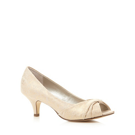 Debut - Metallic gold peep toe court shoes