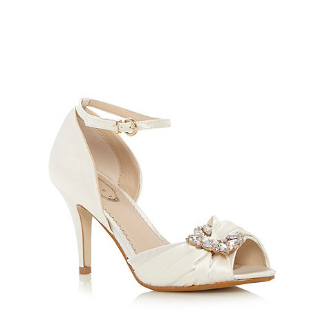 Debut - Ivory satin iridescent brooch stiletto heel shoes