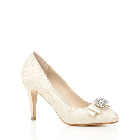 Debut - Ivory lace embellished court shoes