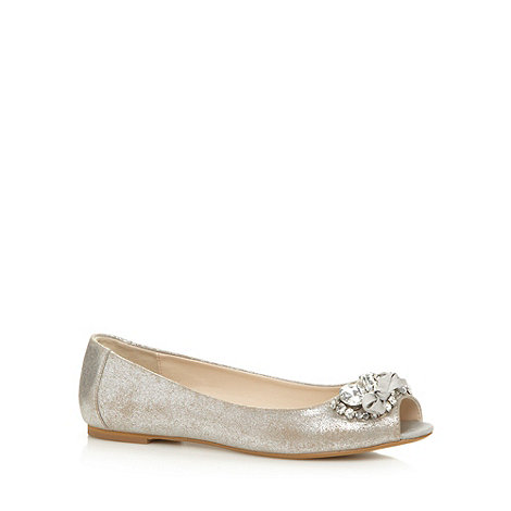 Debut - Silver peep toe embellished pump