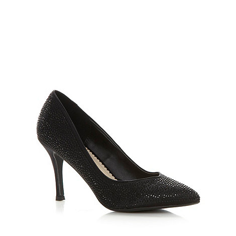 Debut - Black rhinestone studded high court shoes