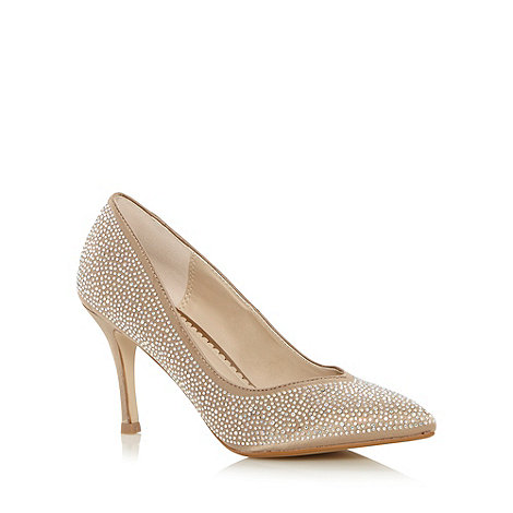Debut - Natural diamante mid heeled court shoes