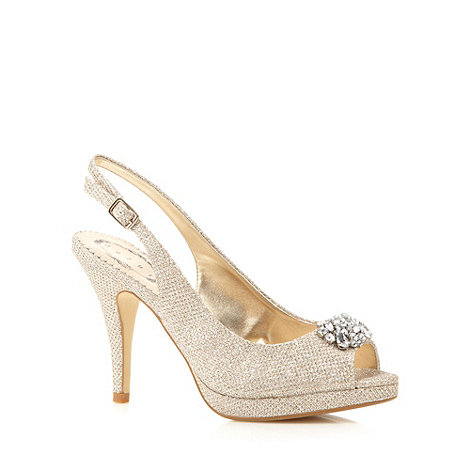 Debut - Light gold clustered diamante high court shoes