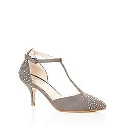 Debut - Dark grey rhinestone T-bar mid court shoes