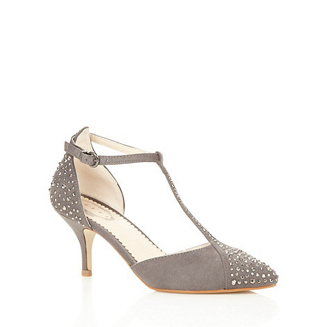 Debut - Dark grey rhinestone T-bar mid court shoes