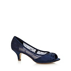 Debut - Navy lace peep toe mid court shoes