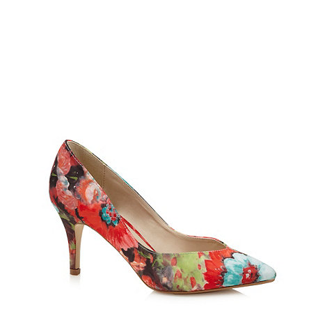 Red Herring - Red floral pointed toe high court shoes