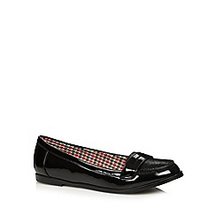 Red Herring - Black hi shine textured loafers