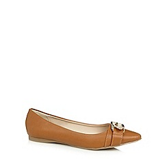 Red Herring - Tan gold buckle pumps
