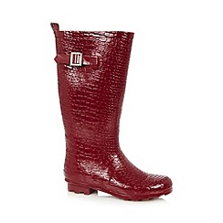 Red Herring - Dark red croc effect wellies