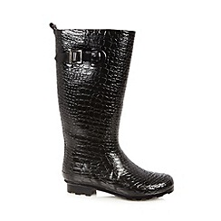 Red Herring - Black croc effect wellies