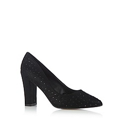 Red Herring - Black embellished pointed toe high court shoes