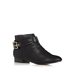 Red Herring - Black snake buckle ankle boots