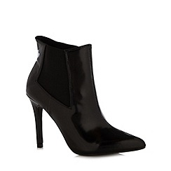 Red Herring - Black patent pointed toe high ankle boots