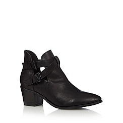 Red Herring - Black cutout buckle detail mid ankle boots