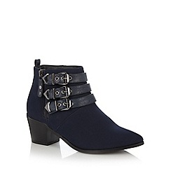 Red Herring - Navy buckle trim mid heeled ankle boots