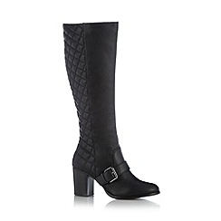 Red Herring - Black quilted high heeled high leg boots
