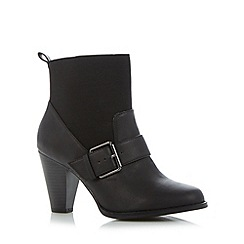 Red Herring - Black textured panel high heel ankle boots