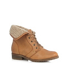 Mantaray - Tan fleece lined lace up ankle boots
