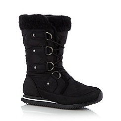 Mantaray - Black quilted calf length snow boots