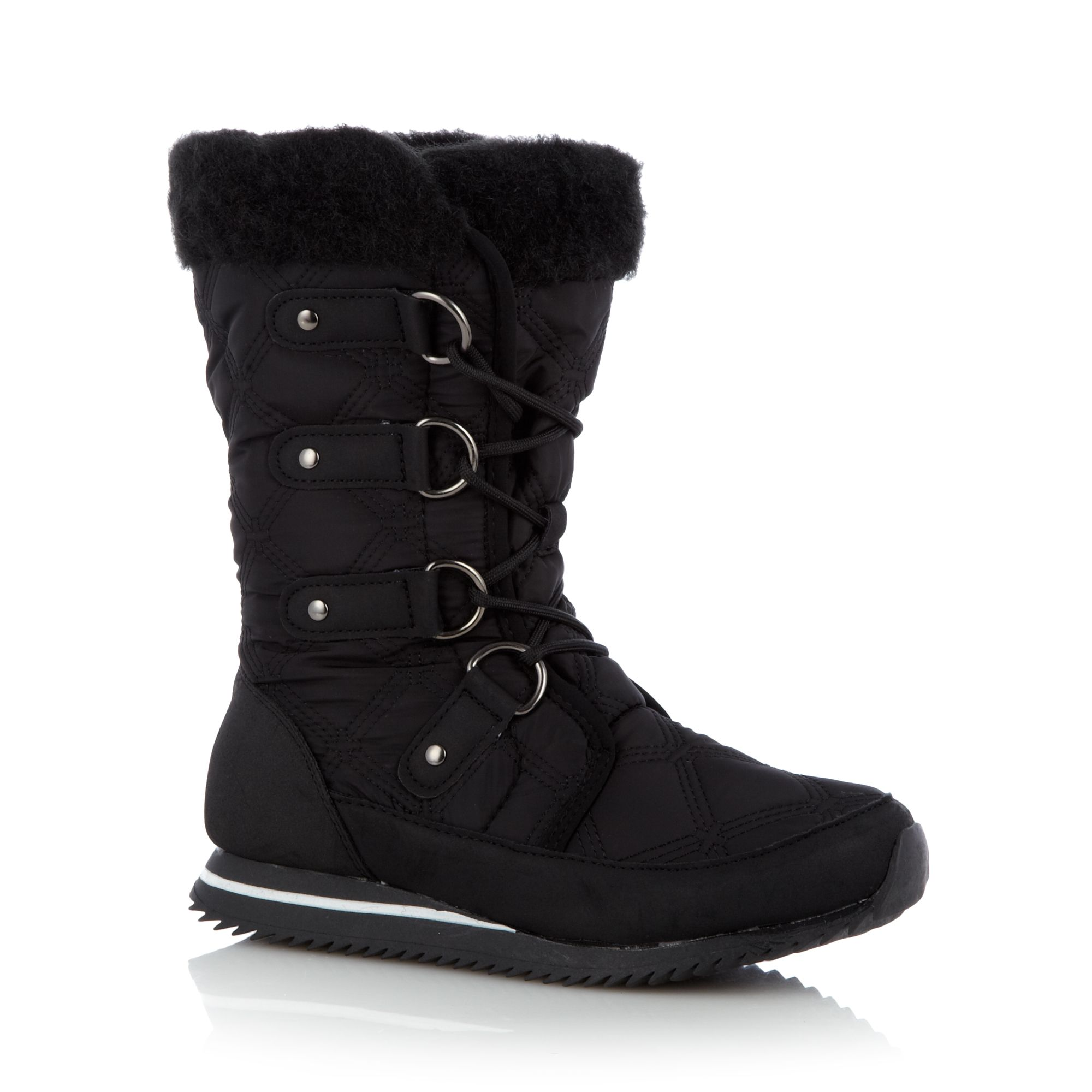 Mantaray Womens Black Quilted Calf Length Snow Boots From
