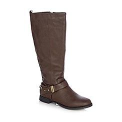 Mantaray - Brown buckle high leg boots