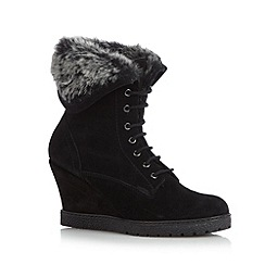 Mantaray - Black faux fur cuff suede wedge ankle boots
