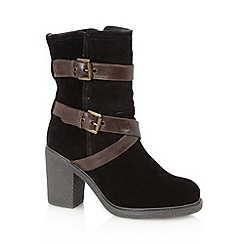 Mantaray - Black suede buckle strap high heel calf boots
